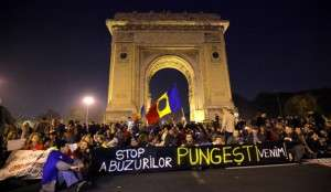 Protest in Bucharest against drilling for shale gas by using hydraulic fracturing