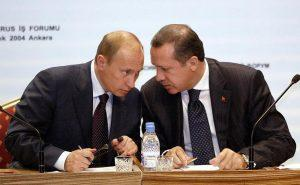 ANKARA, TURKEY:  Russian President Vladimir Putin (L) and Turkish Prime Minister Recep Tayyip Erdogan talk during a meeting in Ankara, 06 December 2004. Putin, on the final day Monday of a landmark visit to Turkey, lashed out at the West, accusing it of destabilizing the former Soviet Union by pushing its own interests in the name of promoting democracy. AFP PHOTO / TARIK TINAZAY  (Photo credit should read TARIK TINAZAY/AFP/Getty Images)
